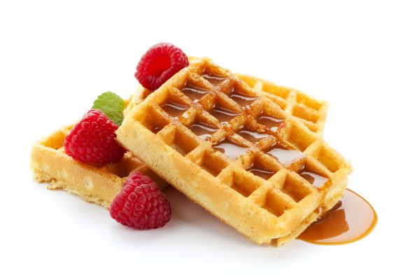 waffles with maple sauce