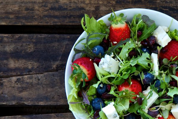 salad with blueberry and feta cheese