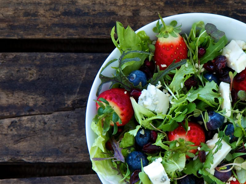 Field Greens and Herb Salad with Fresh Berries