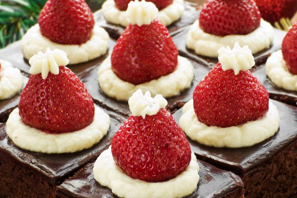 chocolate brownies with strawberry on top