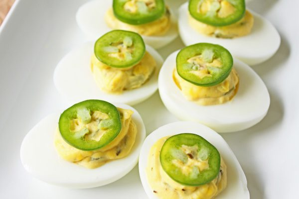boiled eggs with jalapeno slice