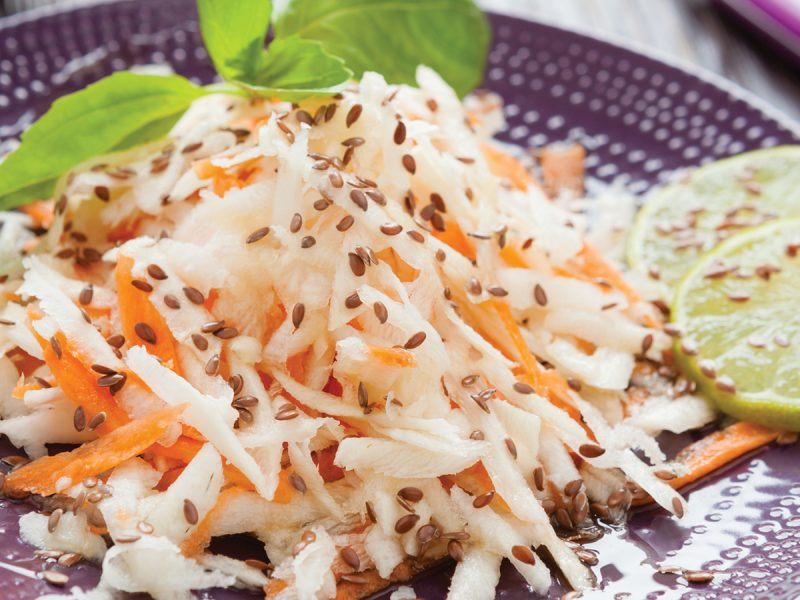 White Balsamic Cabbage and Apple Slaw