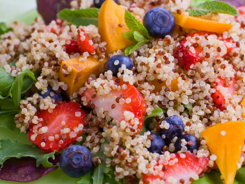 Berry, Arugula and Quinoa Salad with Lemon-Chia Seed Dressing