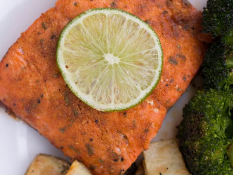Baked Chili Lime Salmon with Potatoes and Broccoli