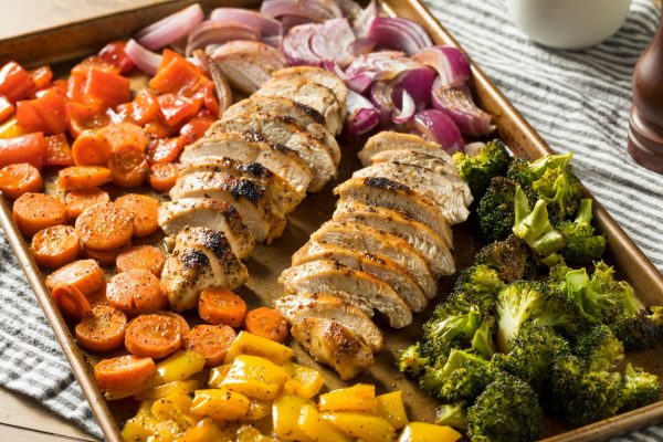 sheet pan with grilled chicken and vegetables