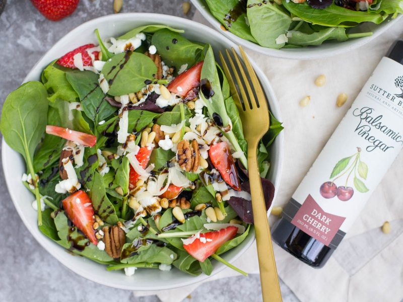 Berry Goat Cheese Mesclun Salad with Dark Cherry Balsamic Vinegar Drizzle