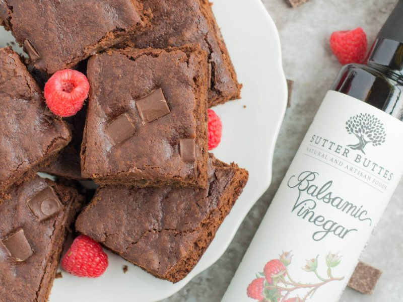 Dark Chocolate Raspberry Balsamic Brownies