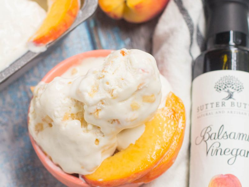 No Churn Peach Balsamic Ice Cream