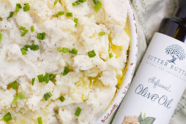 creamy truffle mashed potatoes, next to sutter buttes olive oil bottle