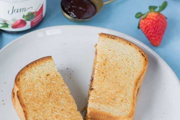 strawberry vanilla grilled peanut butter and jelly sandwich