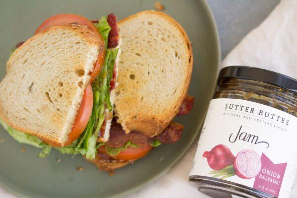 a blt sandwhich using carmelized onion balsamic jam