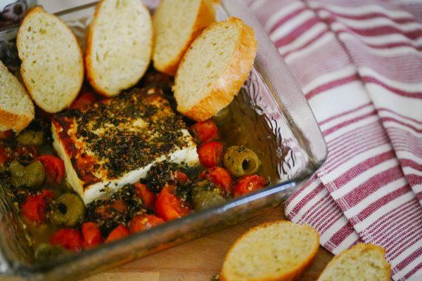Baked Feta, Olives, Tomatoes