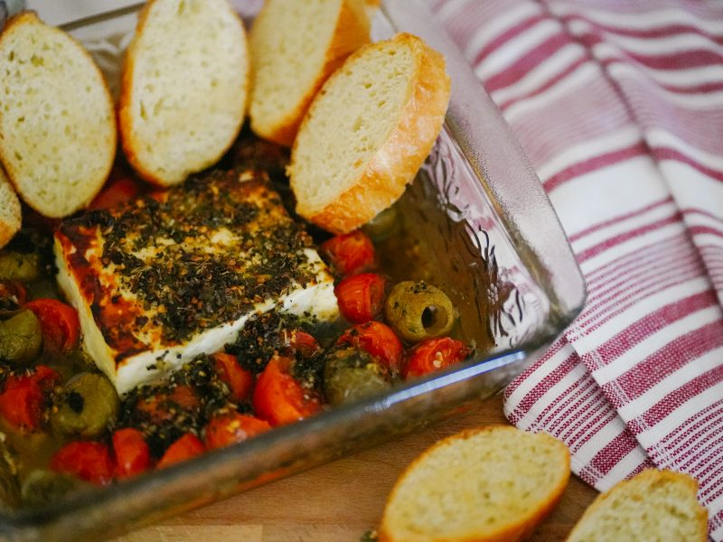 Baked Feta with Olives & Tomatoes